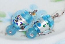 Vintage Charms Flower Drop Drops Dangles Glass Foil Venetian #1113BF