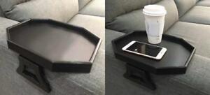 Sofa Arm Clip Table, Armrest Tray Drinks/Remote Control/Snacks Black