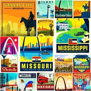 "Missouri Mississippi America Fridge Magnet Locker Vintage Retro 2x3"" BUY 2 GET 2"