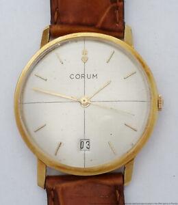 Rare Date Model 18k Gold Vintage Mens Large Corum Wrist Watch