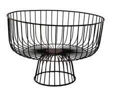 VINTAGE STYLE INDUSTRIAL BLACK WIRE FRUIT BOWL BASKET STORAGE