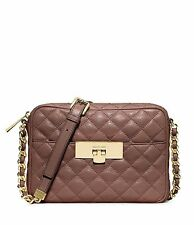 Michael Kors Susannah Quilted Lock Crossbody Messenger Bag (Dusty Rose)