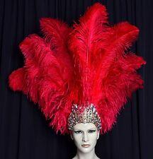 Halloween-Dance  Ostrich Feather Headdress Showgirl Samba Carnival MADE IN USA
