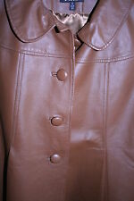 Tan Leather Swing Jacket with Covered Buttons BNWOT