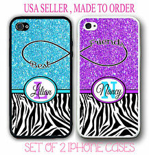 MIX BLUE PURPLE PINK TEAL ZEBRA BFF BEST FRIENDS CASES For iPhone 6S 6 SE 5S S7