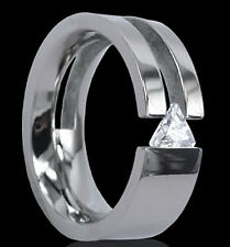TITANIUM 8mm Wide TENSION Solitaire RING with Trillion Cut CZ, size 13