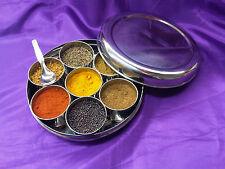 10 Spices In Sleek 170 mm Steel Indian Masala Dabba Spice Tin / Storage box