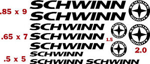 SCHWINN  BICYCLE VINYL CUT DECALS (12) for $13.99   FREE SHIPPING/CHOOSE COLOR