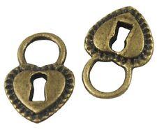 10 Antique Bronze Hearts Padlocks Charms STEAMPUNK LF NF CF 18mm