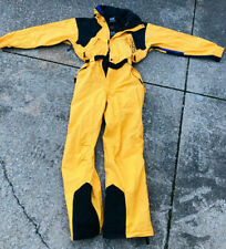Yellow HELLY HANSEN One Piece SKI SUIT Snow Bib WATERPROOF Snowsuit vtg MENS XL