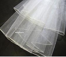 Bridal vei, Ivory White 2Tier wedding Veil, 2 rows Crystal or Pearl Pencil Edge