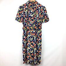 ac25df3d9de Vintage Leslie Fay Shirt Dress PETITE SZ 8 Floral Gold Buttons Belted  Pocket 80s