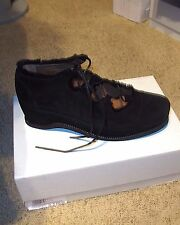 ACCESOIRE of France Shearling Trim Black Suede Lace-up Shoes Sz.39/8.5 (M) NIB