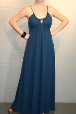 S~M VTG 70s Knit MAXI DRESS TEAL BLUE DRAWSTRING NECK Open Keyhole Tie Bust