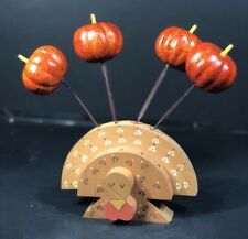 Thanksgiving Fall Wood Turkey Four Pumpkins On Sticks Tabletop Decorations NEW