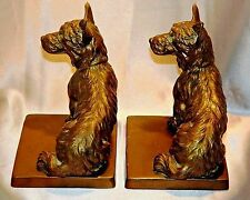 ~ Estate Pair ART DECO Era FRANKART Bronzed SCOTTY DOG BOOKENDS Signed 1929 ~