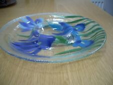"1970's Fusion Art Glass Lge Plate ""Iris Sky"" Inkognito,Handmade, Ex.Cond.REDUCED"