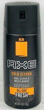 (3 Pack) AXE Gold Citron Deodorant Spray Cool Citrus & White Woods 4 Oz