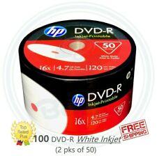 100 HP DVD-R DVD 16X White Inkjet Printable Blank Media Print 4.7GB / 120Min