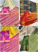 sari saree indian designer wear silk wedding bollywood blouse party Rich pallu