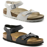 Birkenstock Rio Black White Birko-flor 2 Strap Sandals Mens Womens Unisex Shoes
