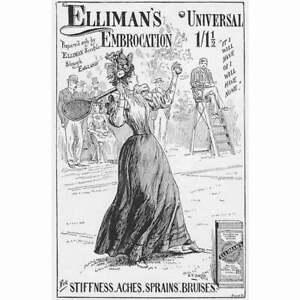 ELLIMAN'S UNIVERSAL EMBROCATION Tennis Theme Victorian Advertisement 1895