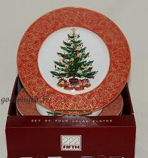 222 Fifth * O'Tannenbaum * 4 SALAD PLATES * Christmas Tree * NEW/BOX