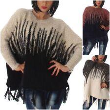 Mehrfarbige Damen-Pullover & -Strickware im Ponchos-Stil mit mittlerer Bundhöhe