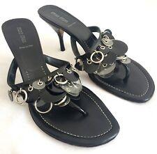 MIU MIU PRADA Women Patent Leather Heel Mules Sandals Flip Flop Black 41 11 10.5