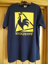 "Le coq sportif navy stretch T shirt sports top yellow logo 42"" chest vgc run/jog"