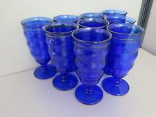 9 COBALT BLUE GLASS Dessert Parfait Soda Shake Glasses Pedestal Silver Ring Y703