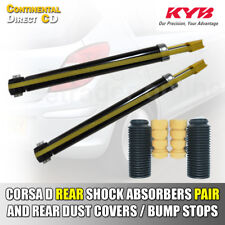 VAUXHALL CORSA D REAR SHOCK ABSORBERS x2 & DUST COVERS | BUMP STOPS 06> QUALITY