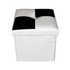 Mobili Rebecca Pouffe coffre de Rangement Noir Blanc Faux Cuir moderne Chambre