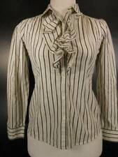 Beautiful Girl's Large Ralph Lauren Chaps White Gray Striped Ruffle LS Blouse