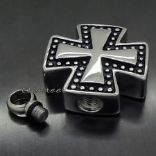 Iron Cross Cremation Keepsake Memorial Urn 316L Stainless Steel Pendant Necklace