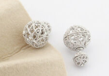 Crystal Double Sided Silver Plated Hollow 3D Stud Ball Earrings S1H3451