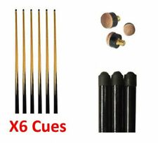 6 x NEW ASSORTED SIZE POOL CUES. 57, 48 AND 36 INCH ***FREE TIPS***