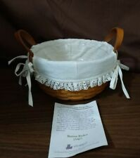 New ListingLongaberger 1995 Button Basket With Leather Strap Handles Liner Protector 15407