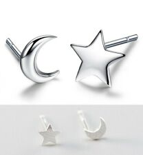 Moon Star Stud Earrings Solid 925 STERLING SILVER Brushed Tiny Studs Gift Box A3