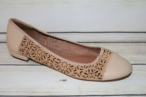 NEXT Brand Cream Cut Out Leather Ballet Flats Shoes Size 11/43 NEW