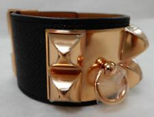 Hermes CDC Black Epsom Collier de Chien Bracelet RARE Rose Gold NEW NIB