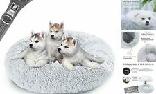 """Donut Dog Bed,Anti-Anxiety Calming Round Pet Bed with Medium-32"""" Light Grey"""