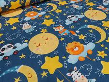 Stoffrest 32x160cm Baumwolle Jersey Mond Sterne Panda Füchse Wolken blau gelb