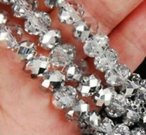 Brand new 4*6mm196pcs multi-faceted half silver small round glass crystal beads