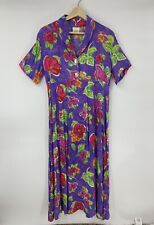 We Be Bop Dress Purple Floral Long Aline Rayon Short Sleeve Size M L2
