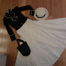 School Marm 2 pc dress black blouse white skirt  hat sz S Prairie costume Victr