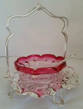 Victorian cranberry glass preserve bowl / table center.  Circa 1880..90's