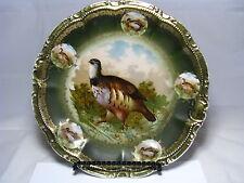 """Porcelain Platter Plate Plaque """"Quail"""" """"Birds"""" Old Paris France 19th Century"""