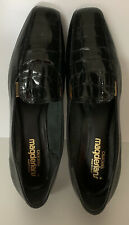 California Magdesians Women's Black Leather Low Heel Square Toe Slip Ons Size 12