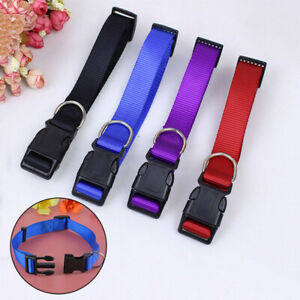 Pet Dog Cat Adjustable Nylon Collar Necklace With Plastic Buckle Neck Strap